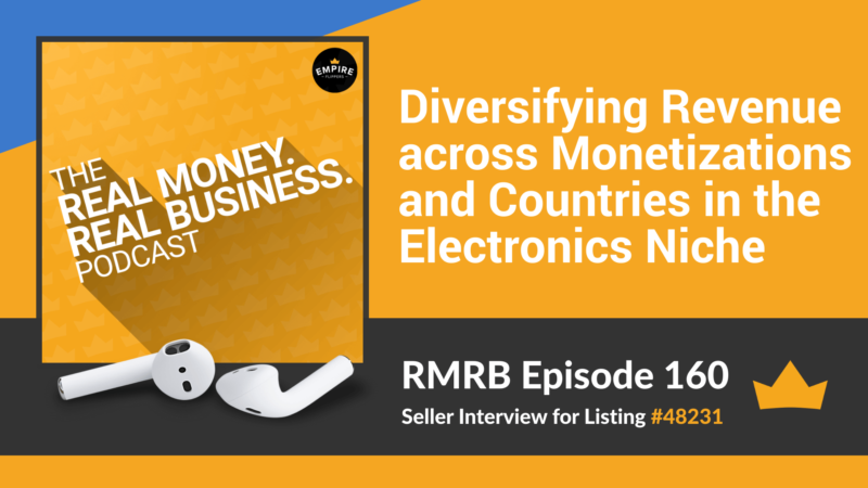 RMRB 160: Diversifying Revenue across Monetizations and Countries in the Electronics Niche