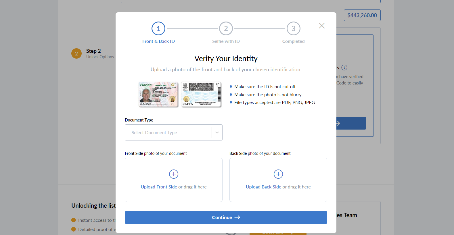 verify your ID on the Empire Flipper's marketplac