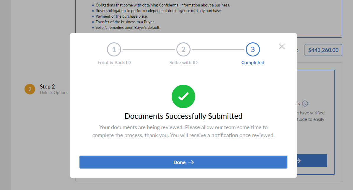 documents successfully submitted