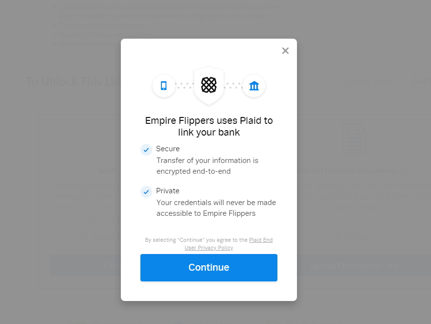 connect bank account to the empire flippers marketplace - plaid pop up