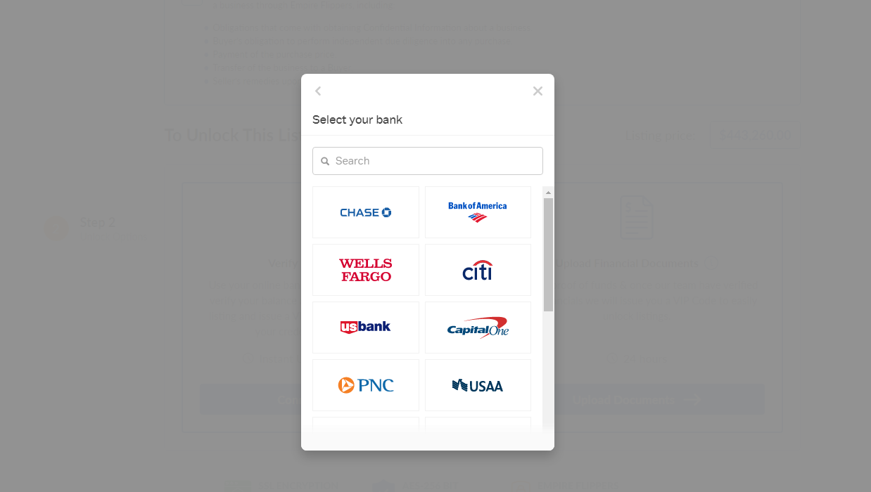 connect bank account to the empire flippers marketplace pop up